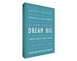 "Feel Good artistica 36 x 24,""Dream Big"", diversi tipi di carattere, forte, A1, cartone, tela, blu-verde"