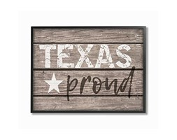 Stupell Industries Texas Proud Typography Lone Star Oversize Framed Giclee Testurizzato Art,, 16 x 1.5 x 50,8 cm