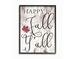 "Stupell Industries ""Happy Fall YALL Typography Giclee Testurizzato Arte incorniciata Oversize,, 16 x 1.5 x 50,8 cm"