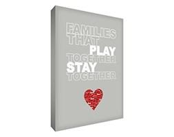Feel Good Art, Tipografia Decorativa da Parete con Scritta in Inglese: Families That Play Together Stay Together/Le Famiglie Che Giocano Insieme restano Unite, 61 x 40 cm, 6 cm, Grigio (Soft Grey)
