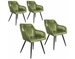 Tectake - 4x Sedia Marilyn similpelle - verde oscuro/negro