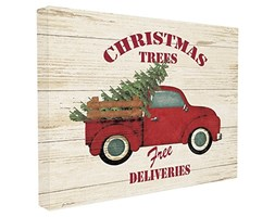 Stupell Industries Merry Christmas Vintage Tree Truck Oversize Stretched Wall Art, Tela,, 60.96 x 3.81 x 76.2 cm