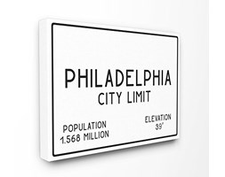 Stupell Industries Philly City Limite XXL Stretched Wall Art, Proudly Made in USA, Tela,, 76.2 x 3.81 x 101.6 cm
