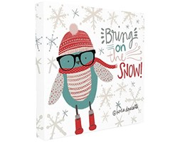 Stupell Industries Bring on The Snow Hipster Penguin Stretched Wall Art, Proudly Made in USA, Tela,, 60.96x 3.81x 60.96cm