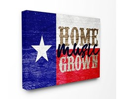 Stupell Industries Home Grown Music Texas XXL Stretched Wall Art, Proudly Made in USA, Tela,, 76.2x 3.81x 101.6cm