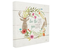 Stupell Industries Rustico Blooms Live The Life You Love Stretched Wall Art, Proudly Made in USA, Tela,, 60.96 x 3.81 x 60.96 cm