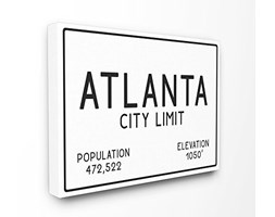 Stupell Industries Atlanta City Limite XXL Stretched Wall Art, Proudly Made in USA, Tela, 76.2 x 3.81 x 101.6 cm
