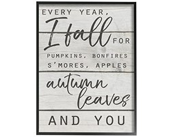 The Stupell Home Decor Collection Ogni Anno i Fall for You Typography Framed Giclee Testurizzato Art, Multi-Colour, 40.64 x 3.81 x 50.8 cm