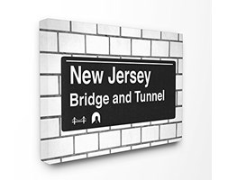 Stupell Industries New Jersey Ponte e Tunnel Sign XXL Stretched Wall Art, Proudly Made in USA, Tela,, 76.2x 3.81x 101.6cm Nero