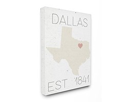 Stupell Industries Dallas EST 1841XXL Stretched Wall Art, Proudly Made in USA, Tela,, 76.2x 3.81x 101.6cm