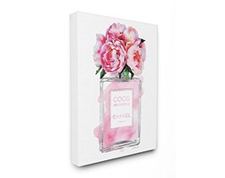 Stupell Industries Glam Profumo V2Fiore Argento Rosa peonia Stretched Wall Art, Proudly Made in USA, Tela, Multicolore, 40.64x 3.81x 50.8cm Rosa