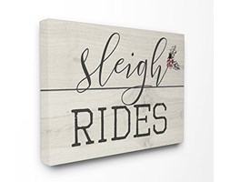 Stupell Industries Sleigh Rides Vintage Christman Sign XXL Stretched Wall Art, Proudly Made in USA, Tela,, 76.2x 3.81x 101.6cm