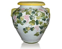 classic terracotta vase with floral decoration