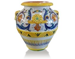 classic terracotta vase- Enamelled and hand decorated 100% made in Italy