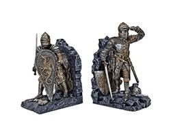 Design Toscano CL3434 Arturiano Cavaliere Bookends, Multicolore